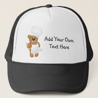 Cute Little Chef Costume Teddy Bear Cartoon Trucker Hat