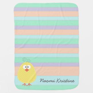 Cute Little Chickie Custom Name Baby Blanket