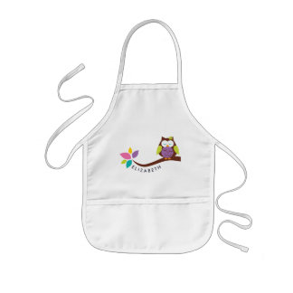 Cute Little colorful owl on a branch Personalized Kids Apron
