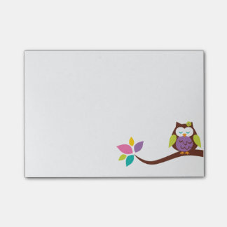 Cute Little colorful owl on a branch Personalized Post-it Notes
