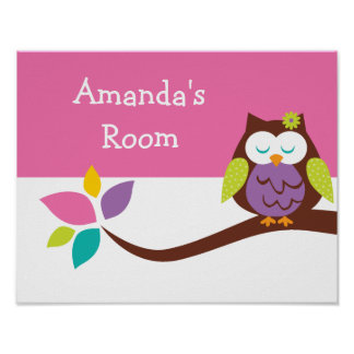 Cute Little colorful owl on a branch Personalized Poster