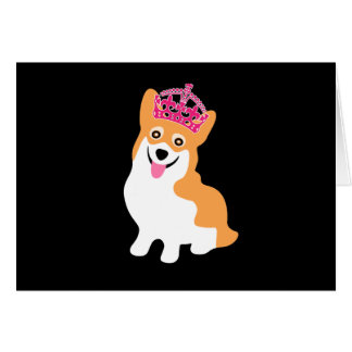 Cute Little Corgi Princess Wearing a Pink Crown Card