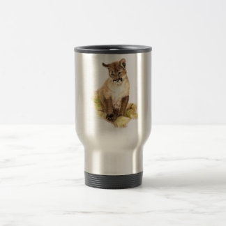 Cute Little Cougar Cub, Animal Nature, Wildlife Travel Mug