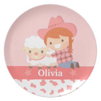 Cute Little Cowgirl and Lamb Girls Plate