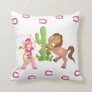 Cute Little Cowgirl and Pony Throw Pillow