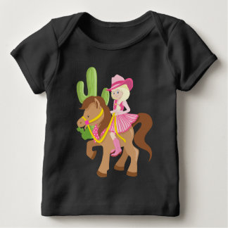 Cute Little Cowgirl on Pony Baby T-Shirt