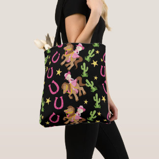 Cute Little Cowgirl Pattern Tote Bag