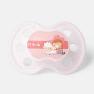 Cute Little Cowgirl with Lamb For Baby Girls Pacifier