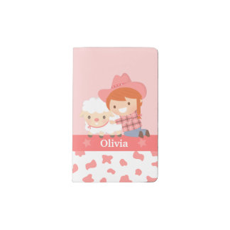 Cute Little Cowgirl with Lamb For Girls Pocket Moleskine Notebook Cover With Notebook