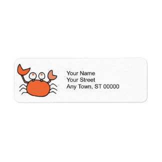 cute little crab cartoon graphic return address label