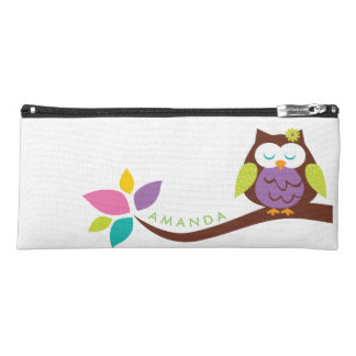 Cute Little Cute OWL on a branch PERSONALIZED Pencil Case