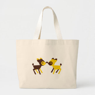 cute little deers touching noses large tote bag