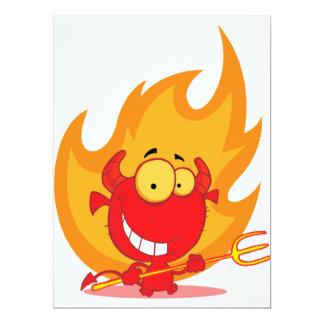 cute little devil with flames cartoon invitation