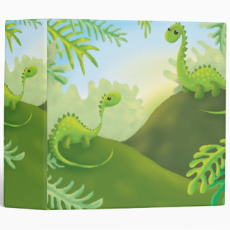 cute little dinosaur land scene vinyl binder