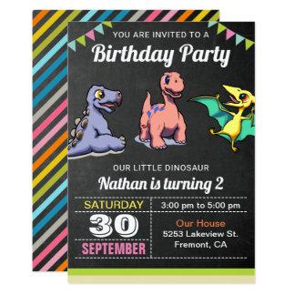 Cute Little Dinosaurs Birthday Party Invitation