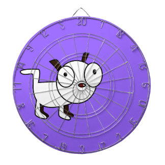cute little dog graphic dartboard with darts