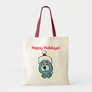 Cute Little Dog With Christmas Hat Tote Bag