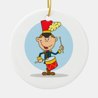 cute little drummer boy round ceramic ornament