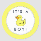Cute Little Duck Baby Shower Stickers- It's A Boy! Classic Round Sticker