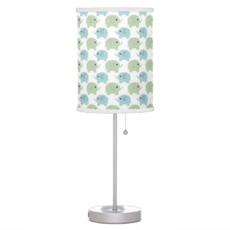 Cute Little Elephants in Blue and Green Table Lamp