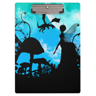 Cute little fairy with dragon clipboard