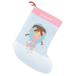 Cute Little Figure Skater Personalized Small Christmas Stocking