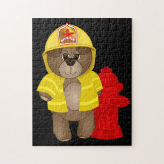 Cute Little Firefighter Kids Teddy Bear Cartoon Jigsaw Puzzle