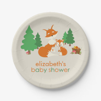 Cute Little Fox and Mom Baby Shower Paper Plate