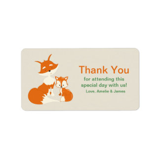 Cute Little Fox and Mom Thank You Label