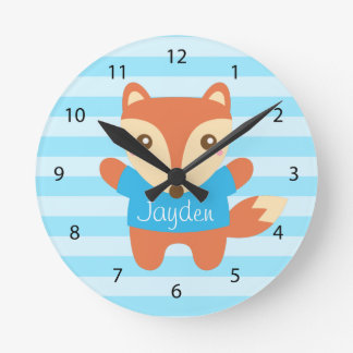 Cute Little Fox for Kids Room Round Clock