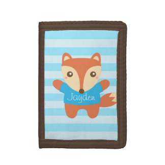 Cute little fox in blue, Name, for Kids Trifold Wallets