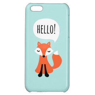 Cute little fox on blue background saying hello case for iPhone 5C