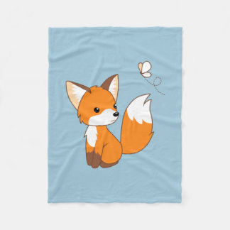 Cute Little Fox Watching Butterfly Fleece Blanket