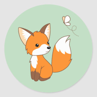 Cute Little Fox Watching Butterfly on Green Classic Round Sticker