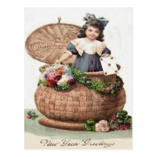 Cute Little Girl Basket Wreath Garland Letter Postcard