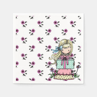 Cute Little Girl Birthday Party Pink Flowers Paper Napkins