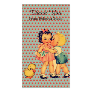 cute little girl boy retro kids birthday party business card