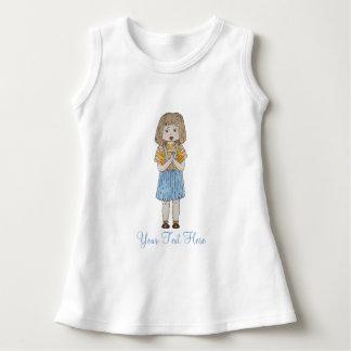 Cute little girl brown hair blue skirt art design dress