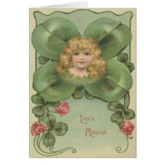 Cute Little Girl Four Leaf Clover Flowers Card