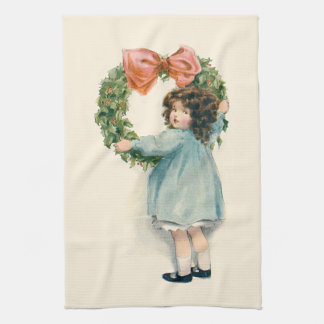 Cute Little Girl Holly Wreath Pink Bow Kitchen Towel