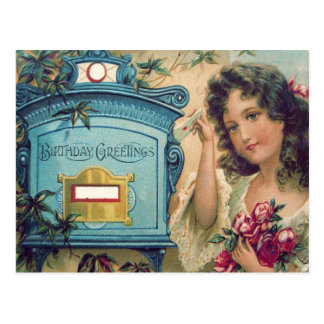 Cute Little Girl Mailbox Letter Roses Postcard