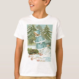 Cute Little Girl Picking Holly Snow T-Shirt