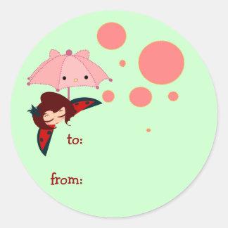 cute little girl round sticker