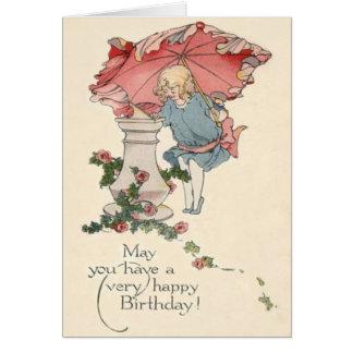 Cute Little Girl Sundial Roses Card