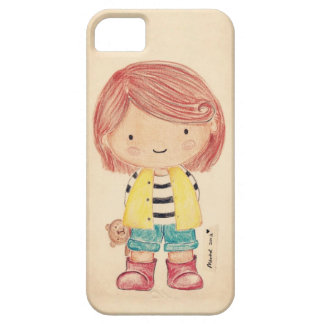 Cute Little Girl with Her Teddy iPhone 5 Covers