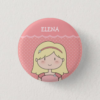 Cute Little Girl with Name (Customizable) -- PINK 1 Inch Round Button