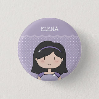Cute Little Girl with Name (Customizable) --PURPLE 1 Inch Round Button