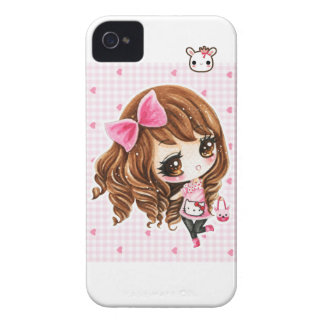 Cute little girl with pink big bow iPhone 4 covers