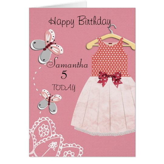 Cute Little Girls Personalised Birthday Card