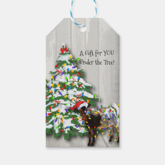 Cute Little Goat Decorated the Christmas Tree Pack Of Gift Tags